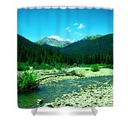 Small Stream Foreground The Rockies Shower Curtain