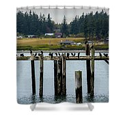 Small Village Along The Columbia River Shower Curtain by Mae Wertz