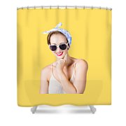 Smiling Pin-up Girl Shower Curtain