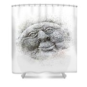 Smiling Stone Face Shower Curtain