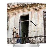 Smoker On Balcony In Cuba Shower Curtain
