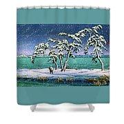 Snow At Hi Marsh, Mito - Digital Remastered Edition Shower Curtain