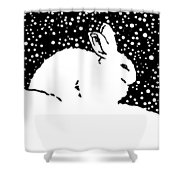 Snow Bunny Rabbit Holiday Winter Shower Curtain
