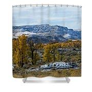 Snow Falls On Autumn Shower Curtain