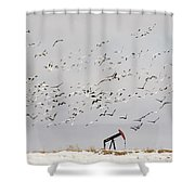 Snow Geese Over Oil Pump 02 Shower Curtain by Rob Graham