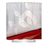 Snowflake With Red Shower Curtain