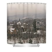 Snowy Bled In Slovenia Shower Curtain