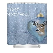 Snowy Deer Ornament Christmas Image Shower Curtain
