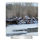 Snowy Graveyard Shower Curtain