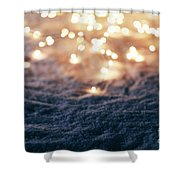 Snowy Winter Background With Fairy Lights. Shower Curtain