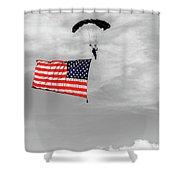 Socom Flag Jump In Selective Color Shower Curtain by Doug Camara