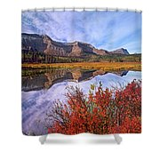 Sofa Mountain Reflecteion, Waterton Shower Curtain