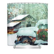 Softly Snowing On The Country Farm Shower Curtain