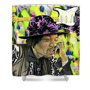 Sonic Exploration - A Jimi Hendrix Portrait Shower Curtain