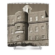 South Carolina State Hospital Asylum Black And White Shower Curtain by Lisa Wooten