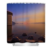 South Holston By Moon And Firelight Shower Curtain