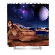 Space Fantasy Goddess Galaxy Beckie Space Goddess-1b Multimedia Digital Artwork Shower Curtain by G Linsenmayer