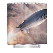 Spacex Bfr Epic Launch Shower Curtain