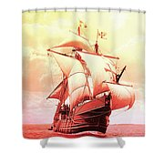 Spanish Caravel Santa Maria Shower Curtain by Robert G Kernodle