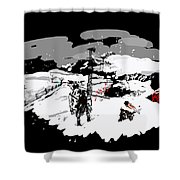 Spots In Snow In Black And White  Shower Curtain