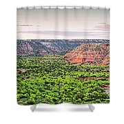 Sprawling Panorama Of Palo Duro Canyon And Capitol Peak - Texas State Park Amarillo Panhandle Shower Curtain