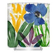 Spring Garden Blue- Floral Art By Linda Woods Shower Curtain