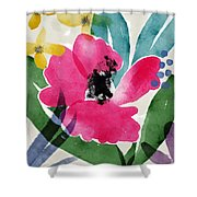Spring Garden Pink- Floral Art By Linda Woods Shower Curtain