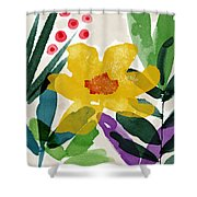 Spring Garden Yellow- Floral Art By Linda Woods Shower Curtain