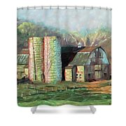 Spring On The Farm - Old Barn With Two Silos Shower Curtain