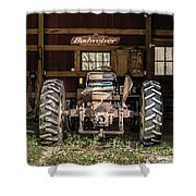 Square Format Old Tractor In The Barn Vermont Shower Curtain