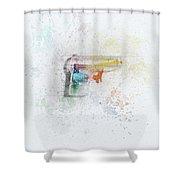 Squirt Gun Painted Shower Curtain