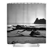 St Cyrus Beach - Scotland - Black And White Shower Curtain by Jason Politte