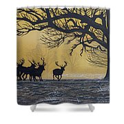 Stags At Dawn Shower Curtain