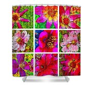 Stained Glass Pink Flower Collage  Shower Curtain