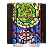 Star Of David Stained Glass Shower Curtain