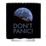 Starman Don't Panic In Orbit Shower Curtain