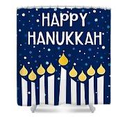 Starry Night Hanukkah Menorah- Art By Linda Woods Shower Curtain