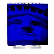 Statue Of Liberty In Blue Shower Curtain