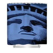 Statue Of Liberty In Cyan Shower Curtain