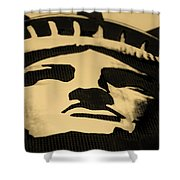 Statue Of Liberty In Dark Sepia Shower Curtain
