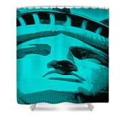 Statue Of Liberty In Turquois Shower Curtain