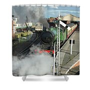 Steam Train Leaving Station Shower Curtain