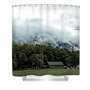 Steaming White Mountains Shower Curtain