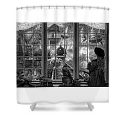 Steampunk Dreams In Black And White Shower Curtain
