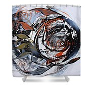 Steampunk Metallic Fish Shower Curtain