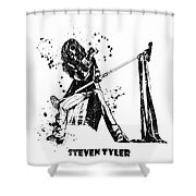 Steven Tyler Microphone Aerosmith Black And White Watercolor 02 Shower Curtain