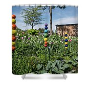 Sticks With Colorful Balls In A Garden Shower Curtain