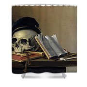 Still Life With Skull, Books, Flute And Pipe Shower Curtain