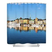 Stockholm Old City Fantastic Golden Hour Sunrise Reflection In The Baltic Sea Shower Curtain