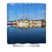 Stockholm Old City Sunrise Reflection In The Baltic Sea Shower Curtain